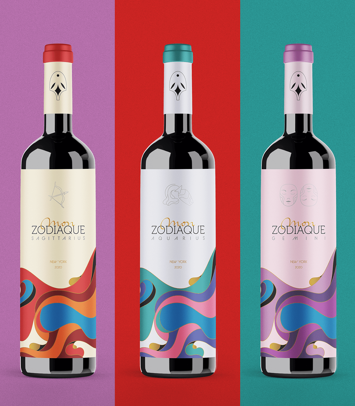 branding  branding project graphic design  ILLUSTRATION  Packaging Wine Packaging zodiac zodiaque