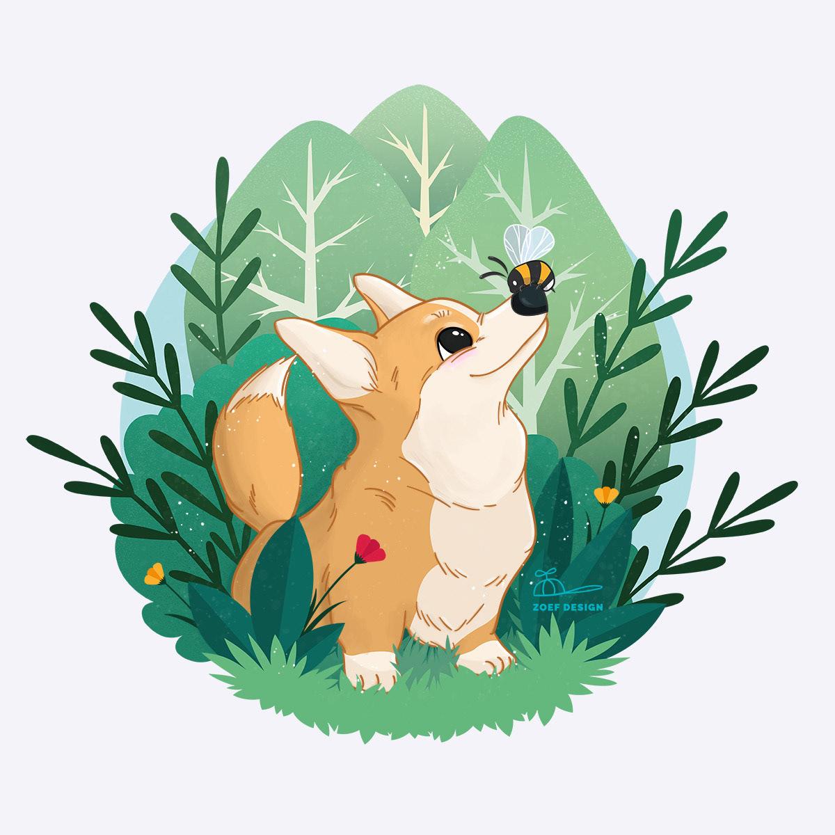 adobe illustrator,Adobe Photoshop,cute animals,cute dog,digital illustration
