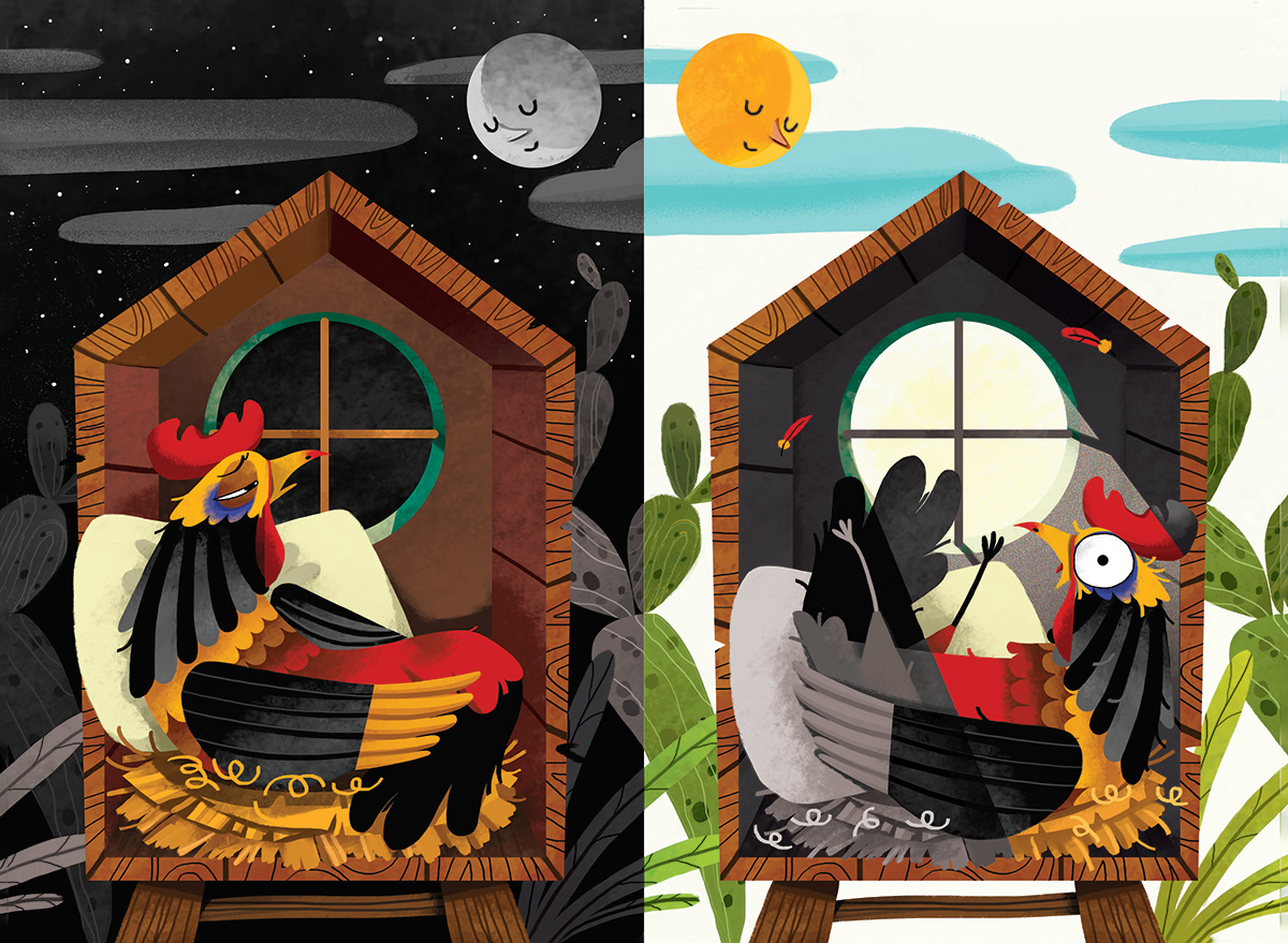 chicken Roosters want to sleep rossters room to read WILIAMLUONG willus picturebook