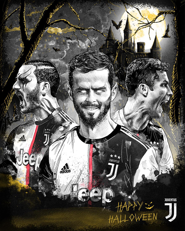 Dynamic sport/football illustration for Juventus. Bonucci, Ronaldo. Halloween
