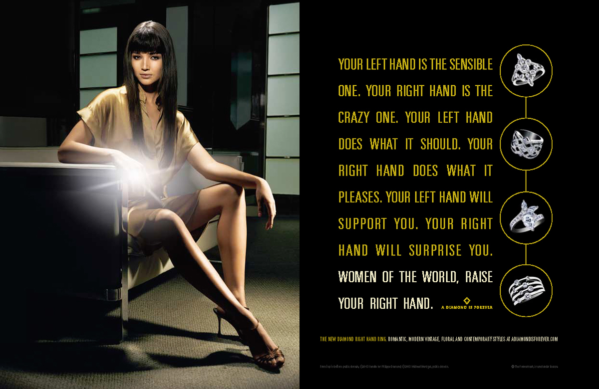 ad campaign De Beers diamonds right hand ring
