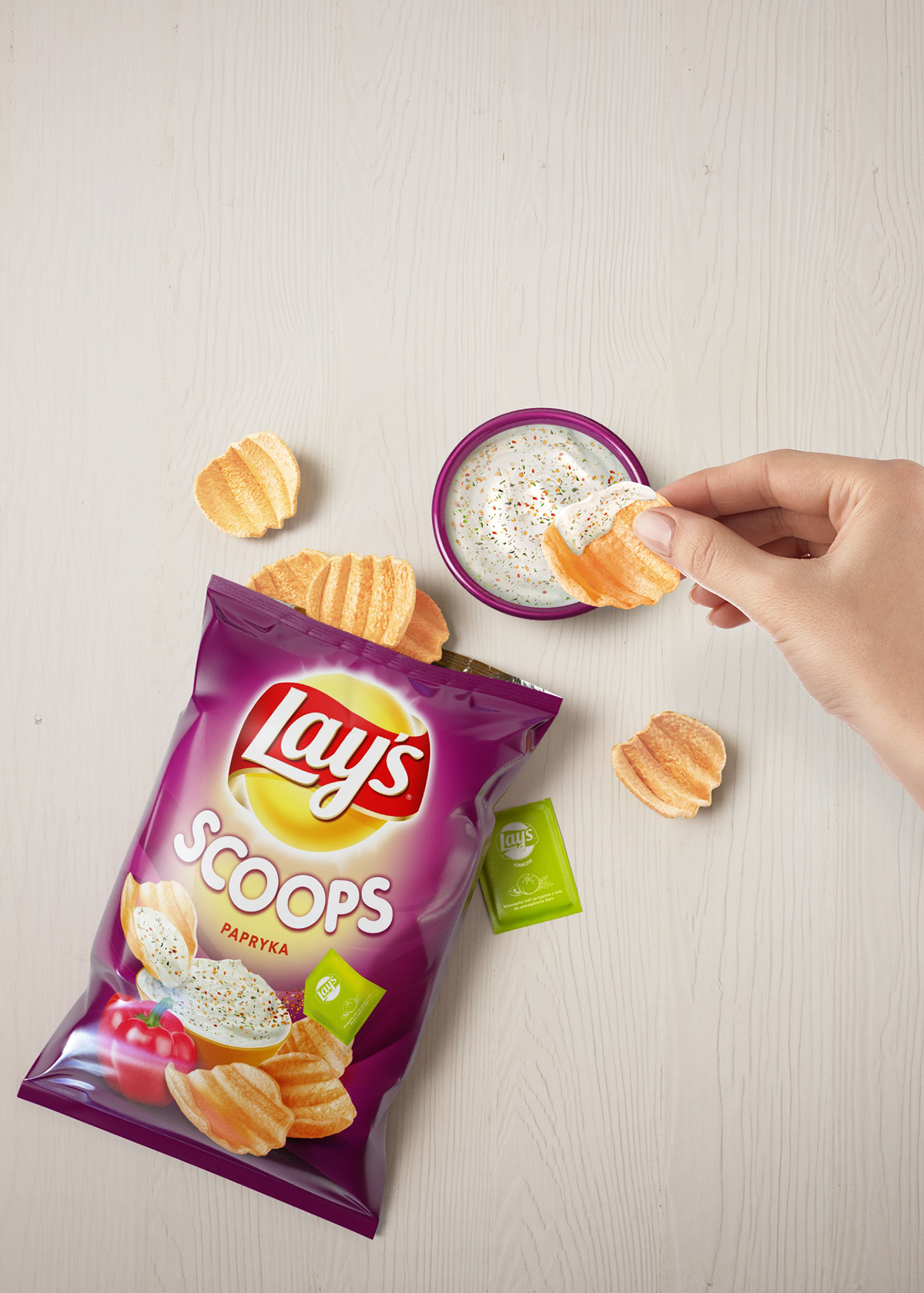 CGI Food  retouching  Lays 3ds MAX vray advertisement scoops