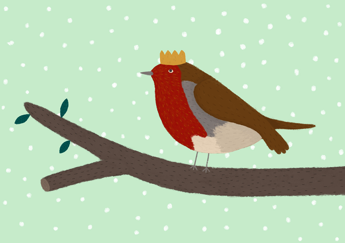 Christmas gingerbread house robin reindeer Christmas trees cute children's illustration Christmas Card design winter festive