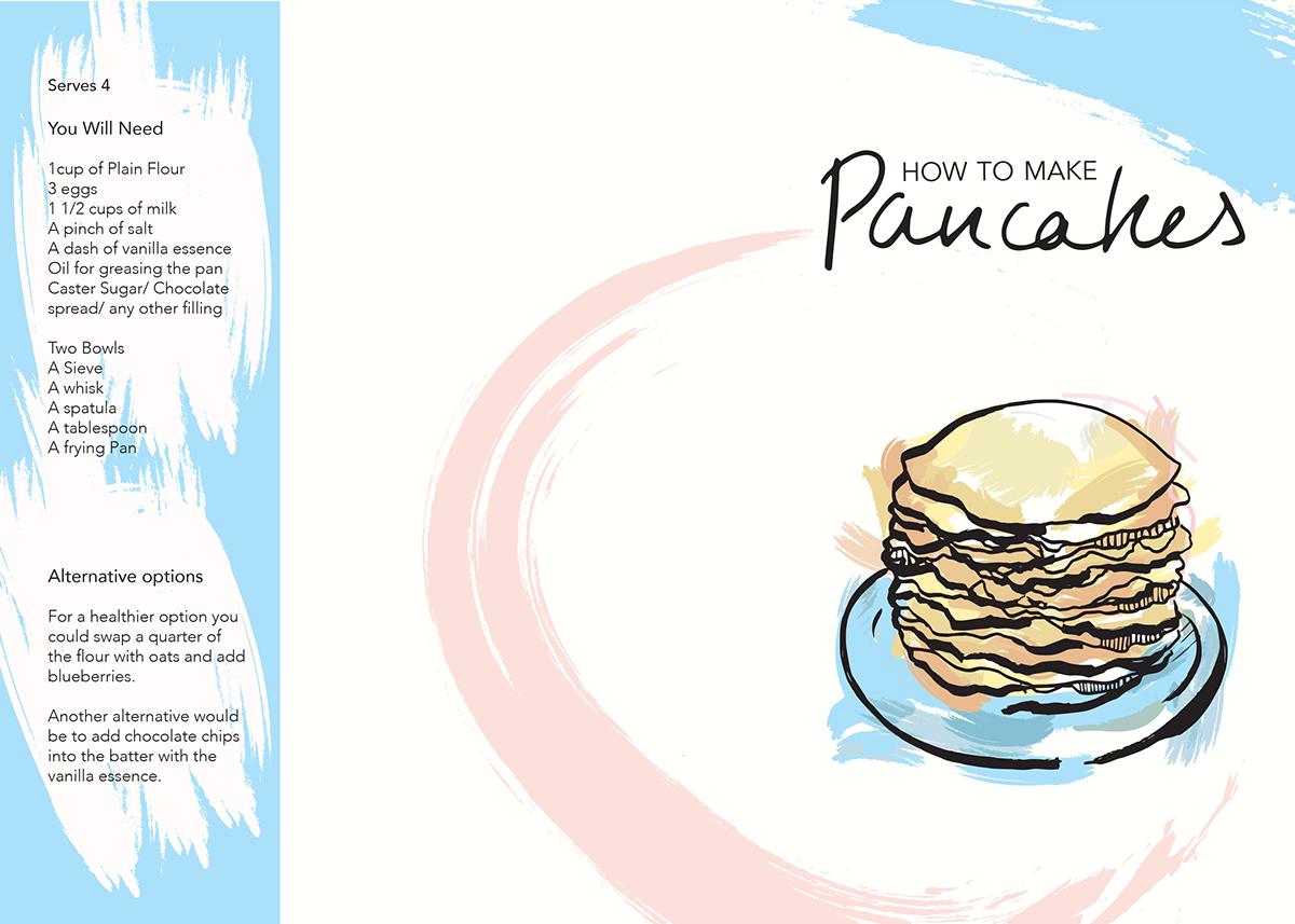 Instructional leaflet how to make pancakes on behance ccuart Images