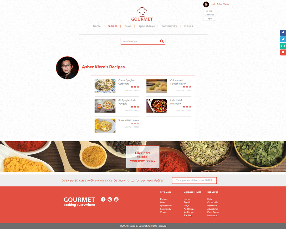 Gourmet Website - Recipes, Menus and Cooking guides on