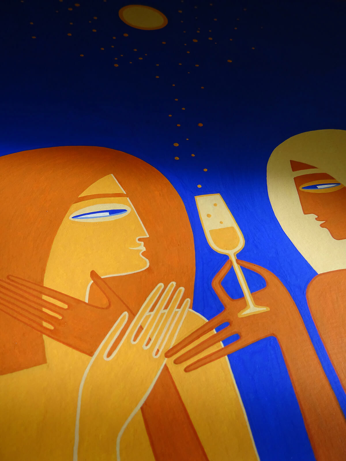 Glass of Champagne ILLUSTRATION  kv Love night event nocturnal painting   Poetry  poster Prosecco