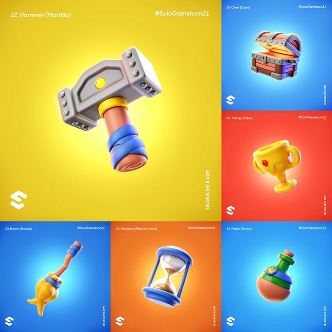 3D color design game Icon object props set solosalsero still life