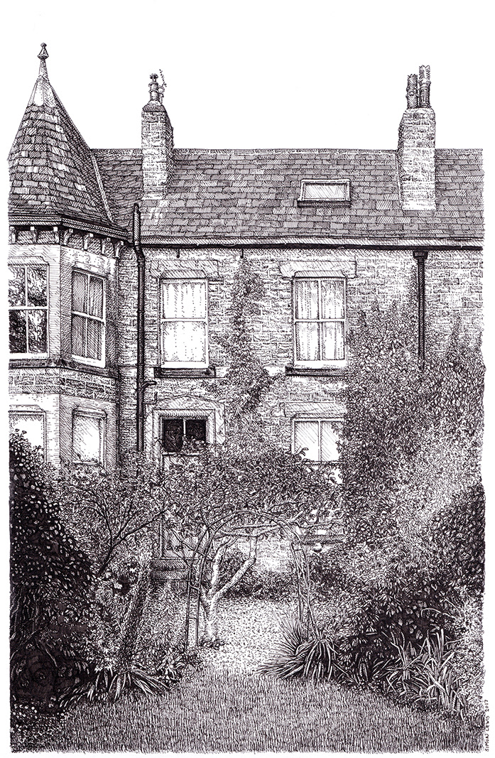 black and white cross hatching detail home house line drawing residential subarbia subarbs