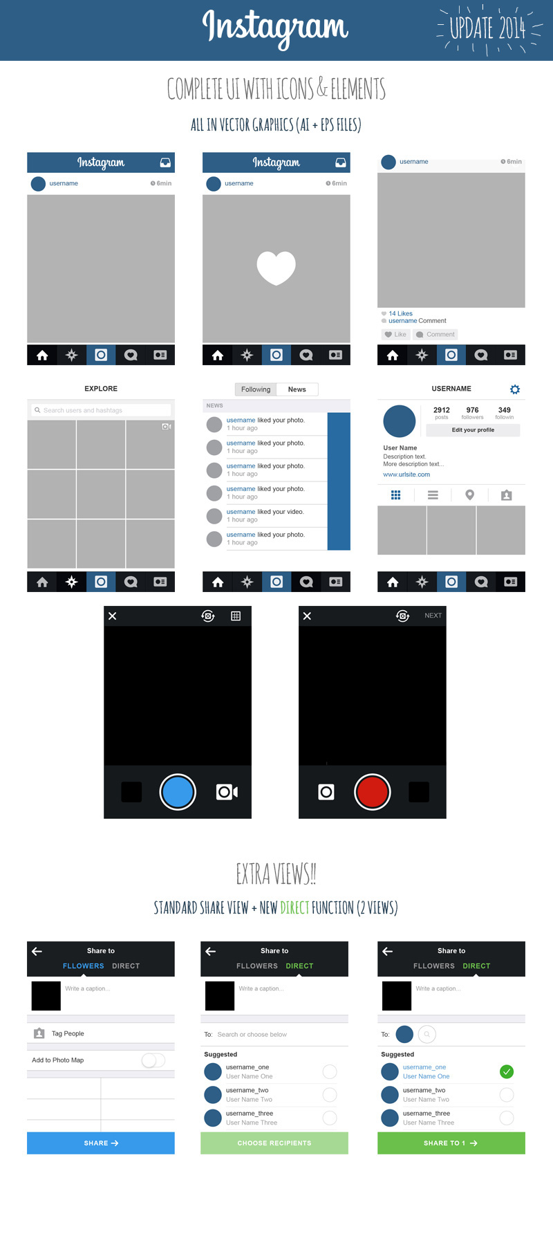 free instagram ui ios7 2014 views icons elements on behance. Black Bedroom Furniture Sets. Home Design Ideas