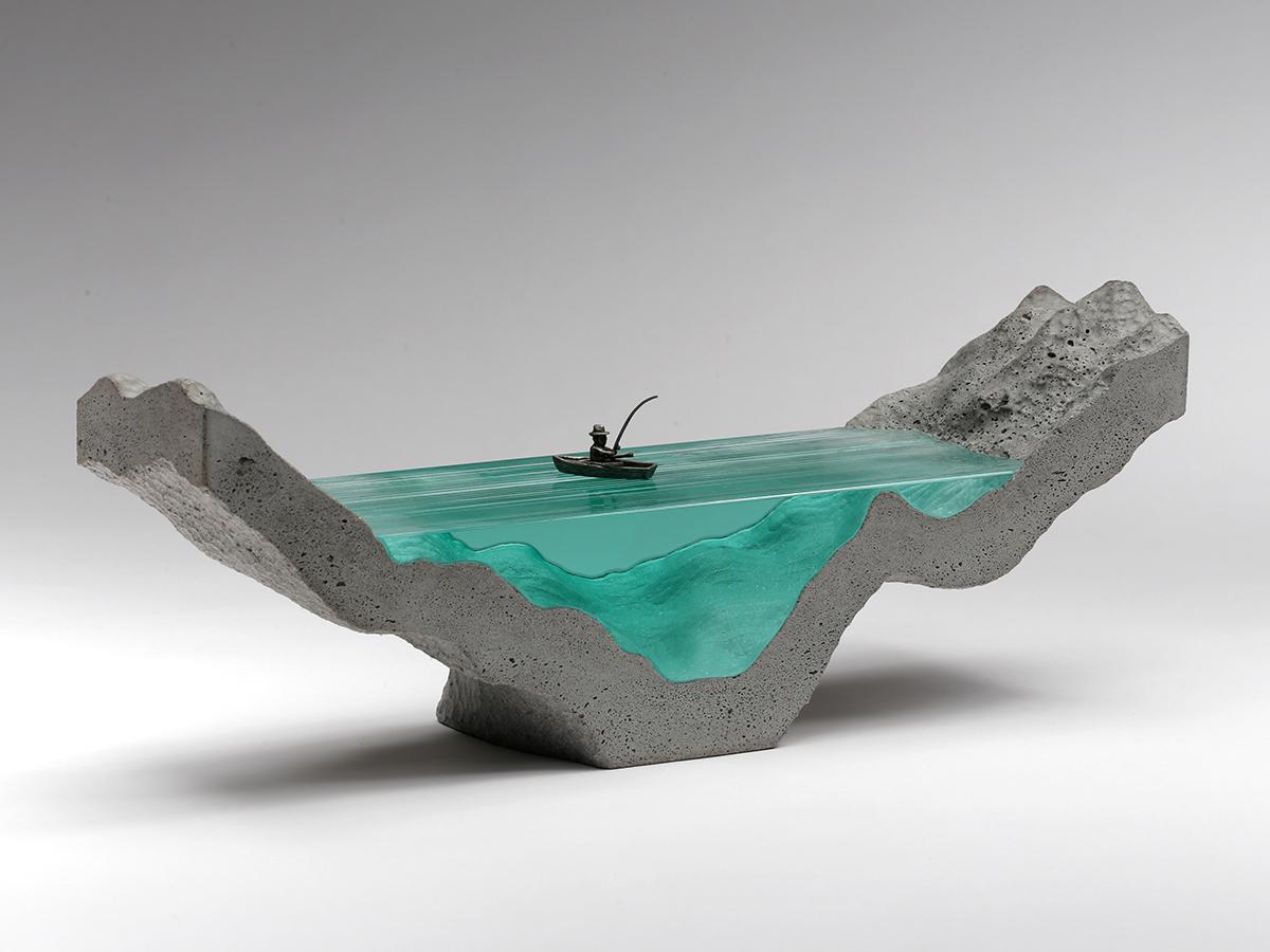 glass glass sculpture Ben Young ben young glass Ocean fishing concrete