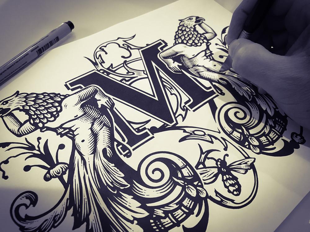 Steven Noble scratchboard logo line art pen and ink crest engraving