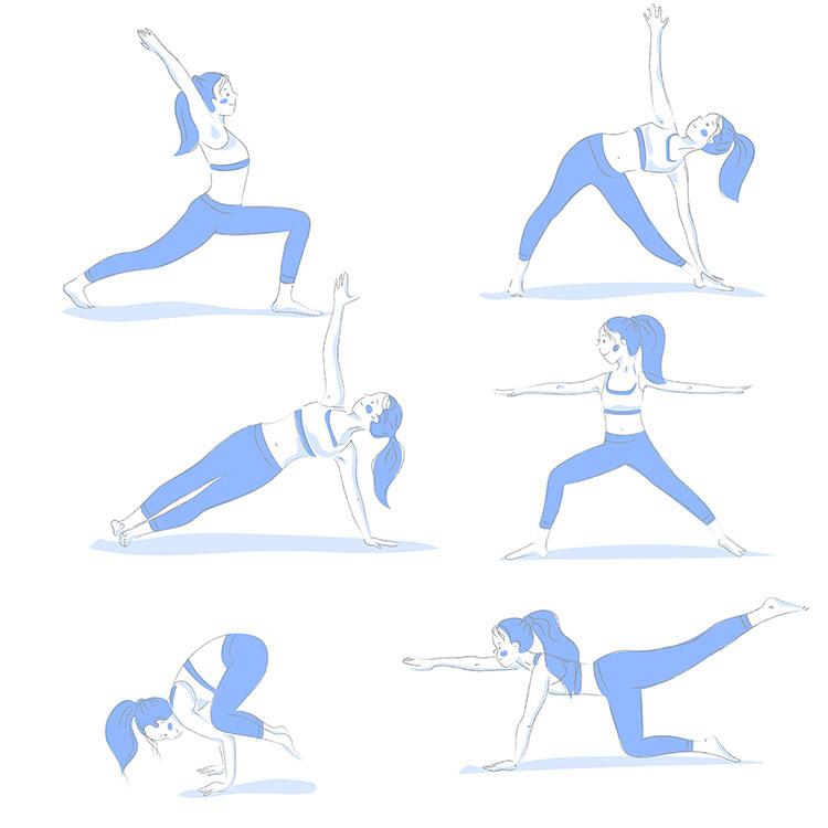 Set of 6 yoga poses free to download