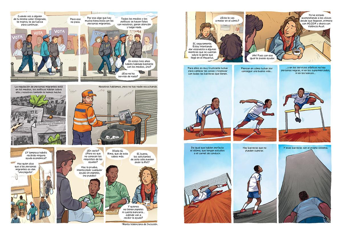 2D aquarius comic derechoshumanos humanrights Migración migration Refugees refugiados valencia