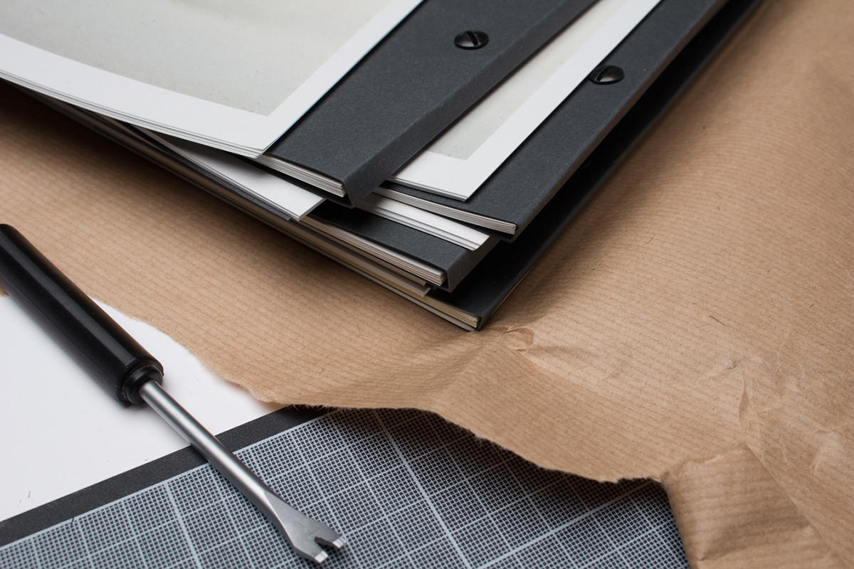book portfolio furniture folio foil monochrome black and white binding black White format oversized