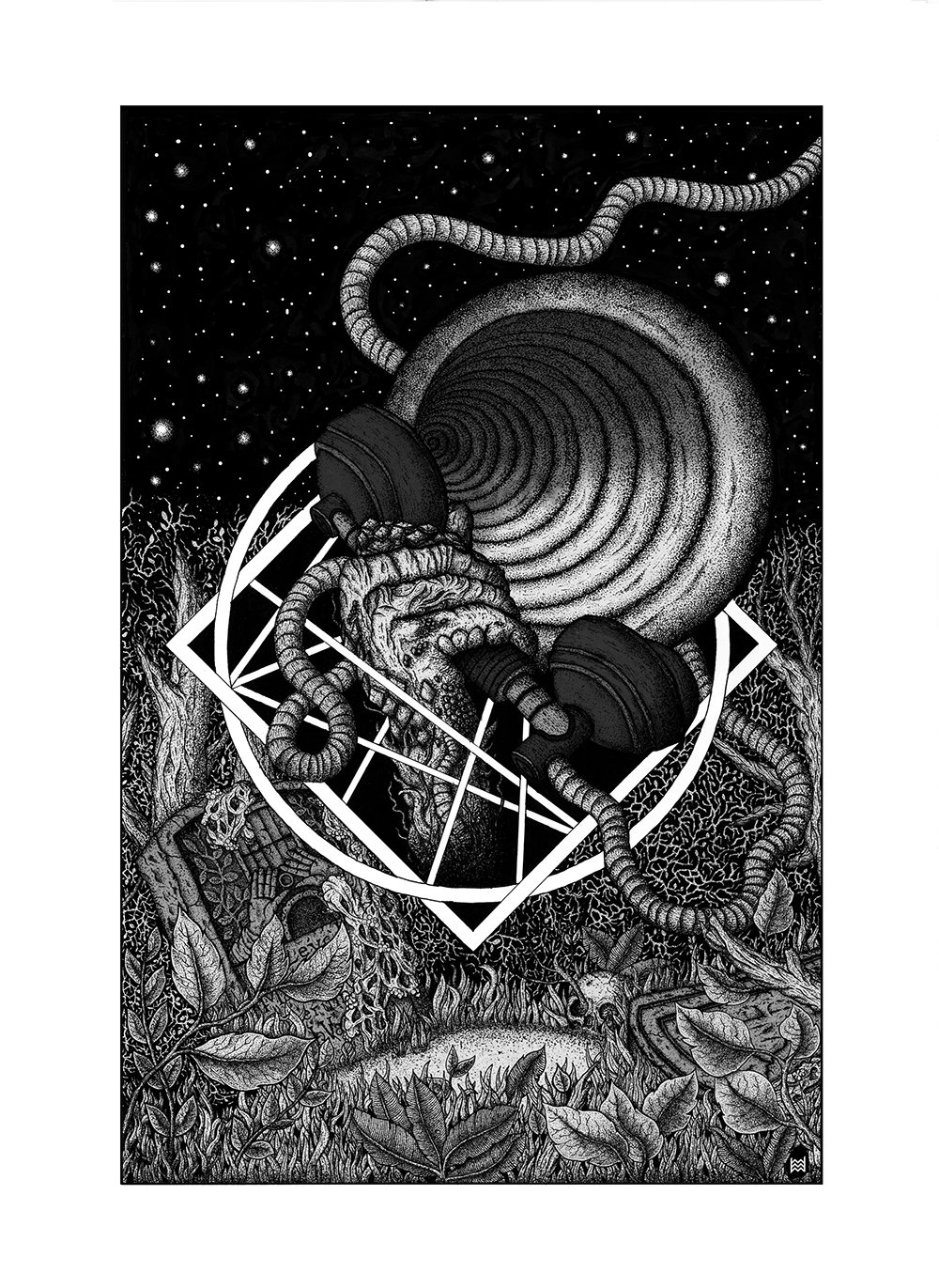 lovecraft horror pen ink book ILLUSTRATION  stippling dots artwork Pen & Ink