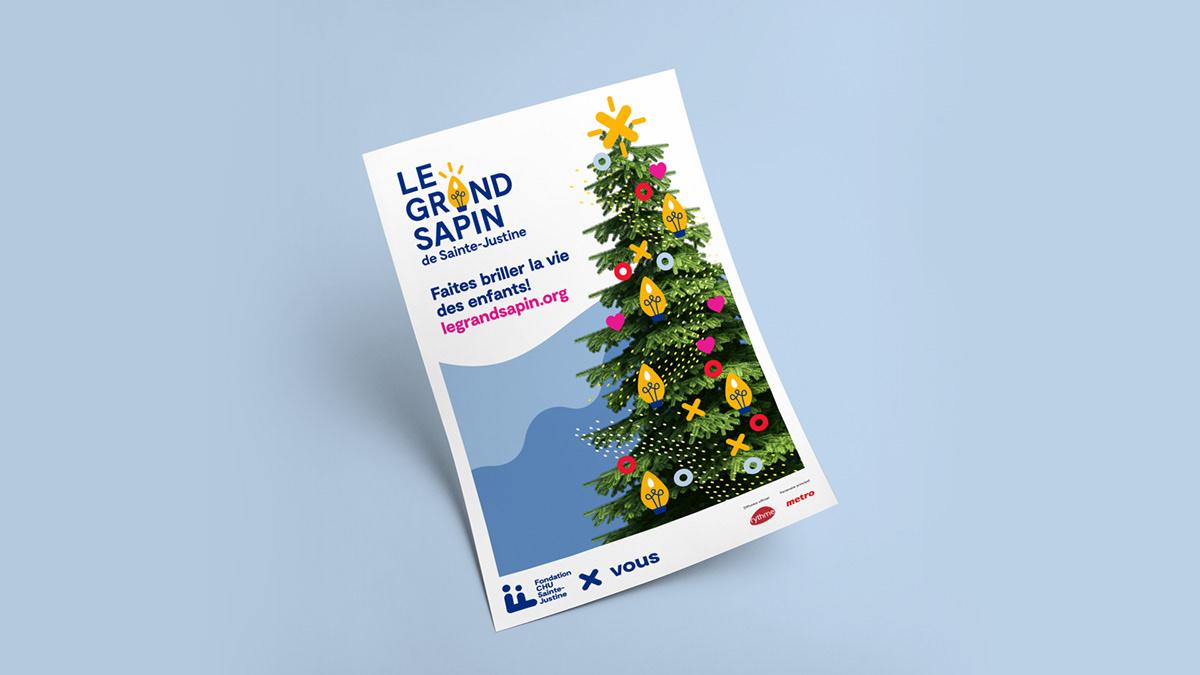 grand sapin Christmas children foundation hospital campaign christmas Tree lights christmas lights branding