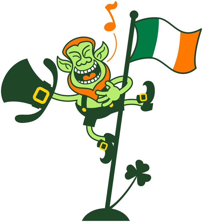 Leprechaun climbing an Irish flag pole and singing