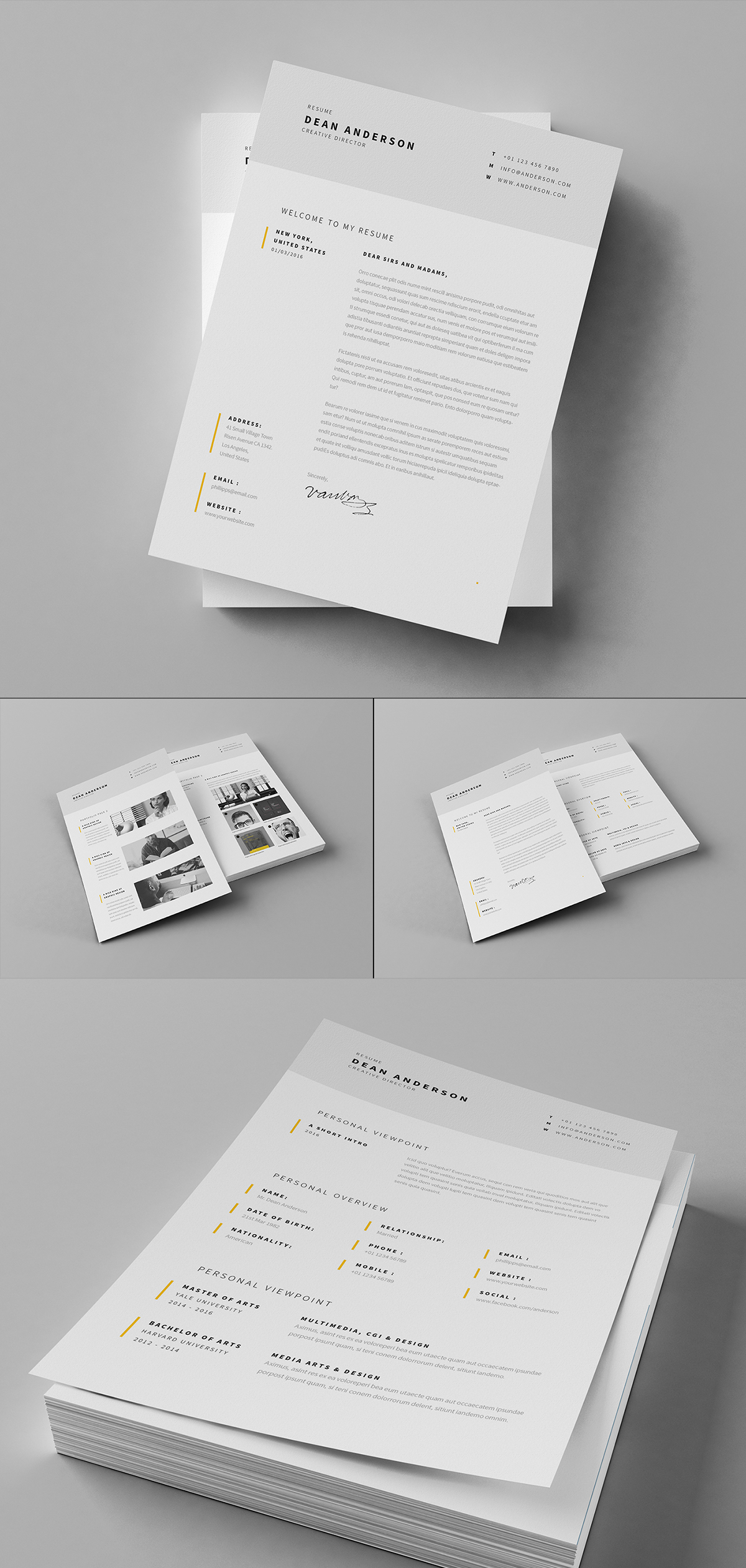 Minimal Resume / CV / Curriculum Vitae / 7 Pages on Behance