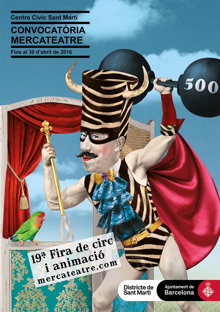 ilustracion circo Artes escenicas Fotomontaje evento cultural Centro cívico Sant MARTI