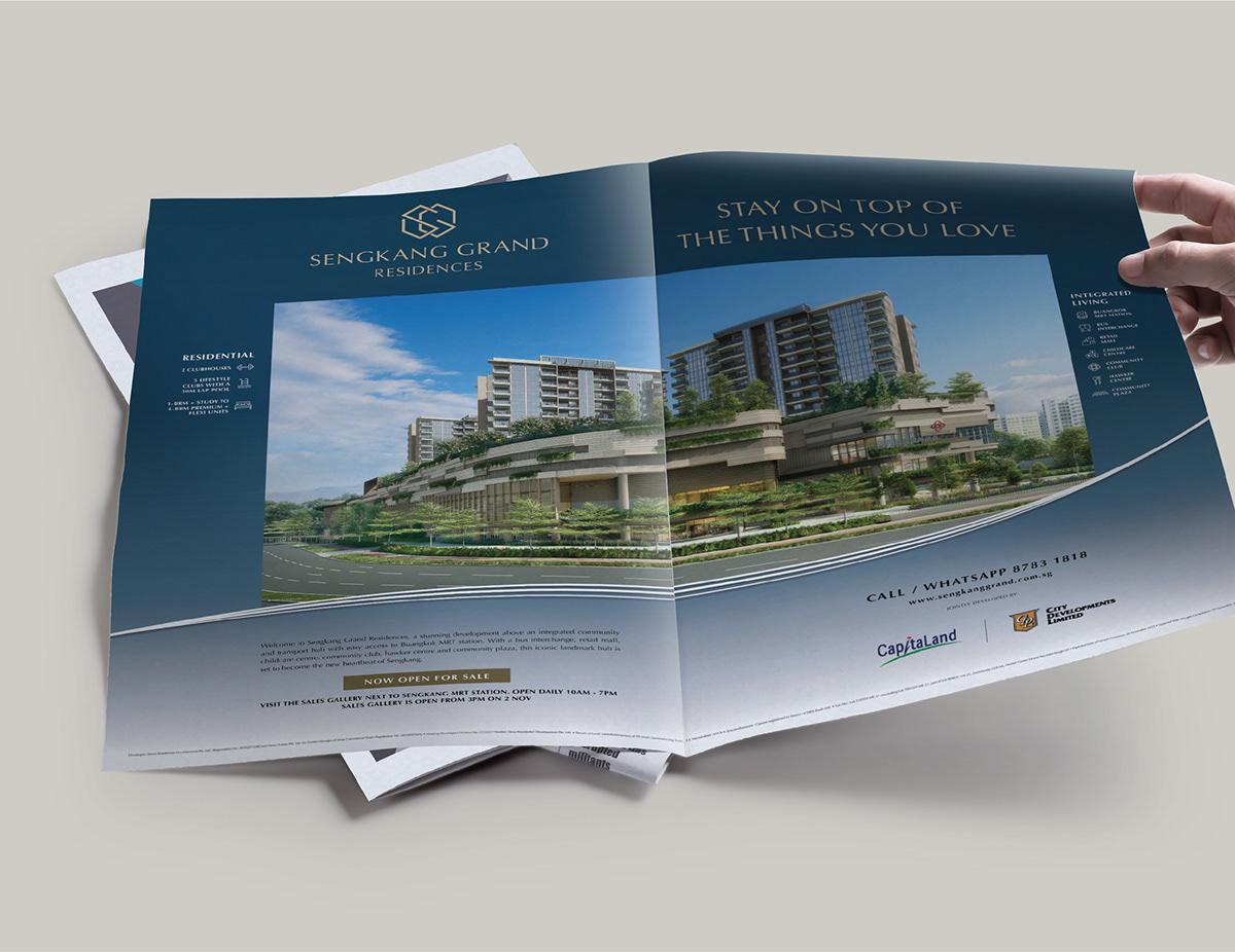 brochure property branding  CapitaLand cdl facade integrated mall residences Sengkang