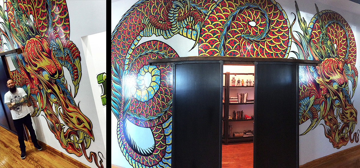 space dragon studio wall mural installation on behance wall murals denver graphic installers wall graphics wall