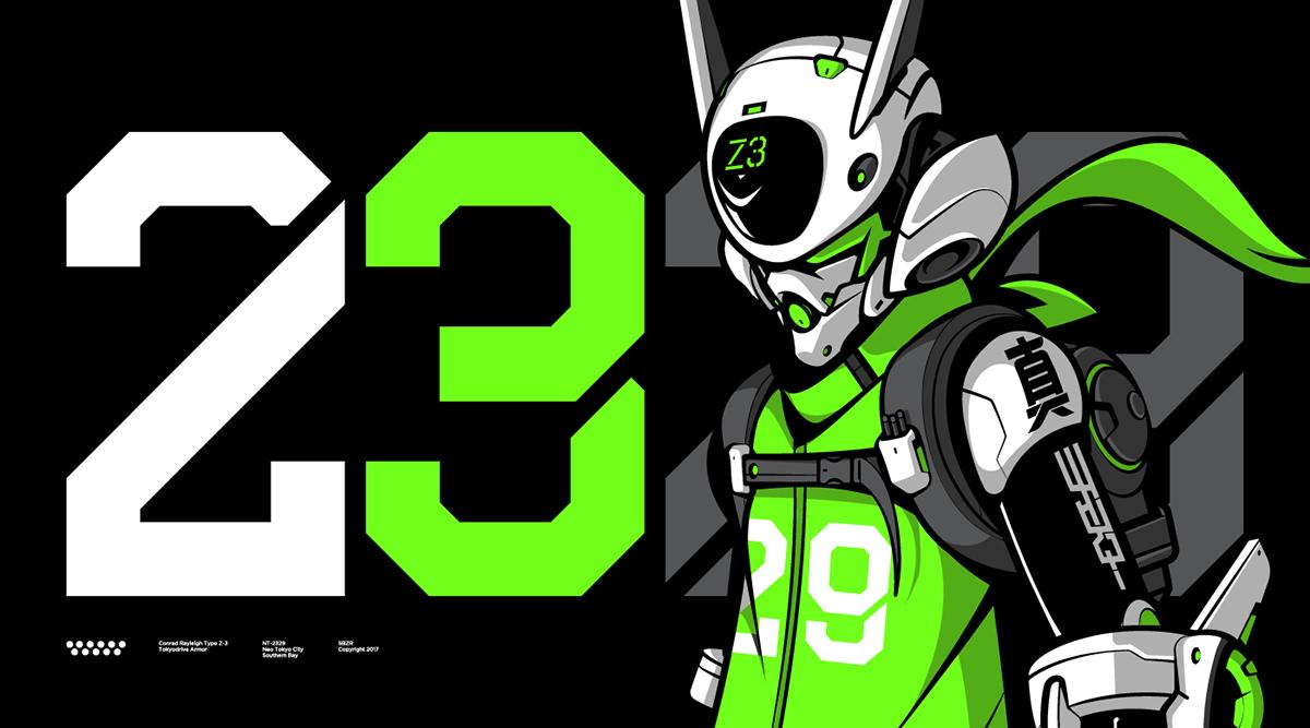 mecha robot vector streetwear characterdesign japstyle graphics