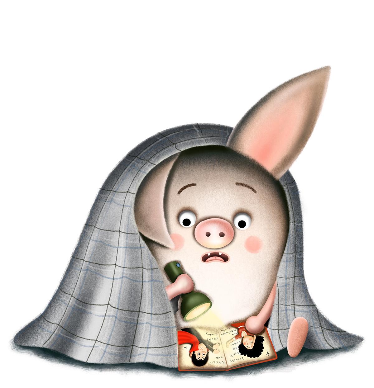 animals bat book children Childrensillustration digitalart neropýr night