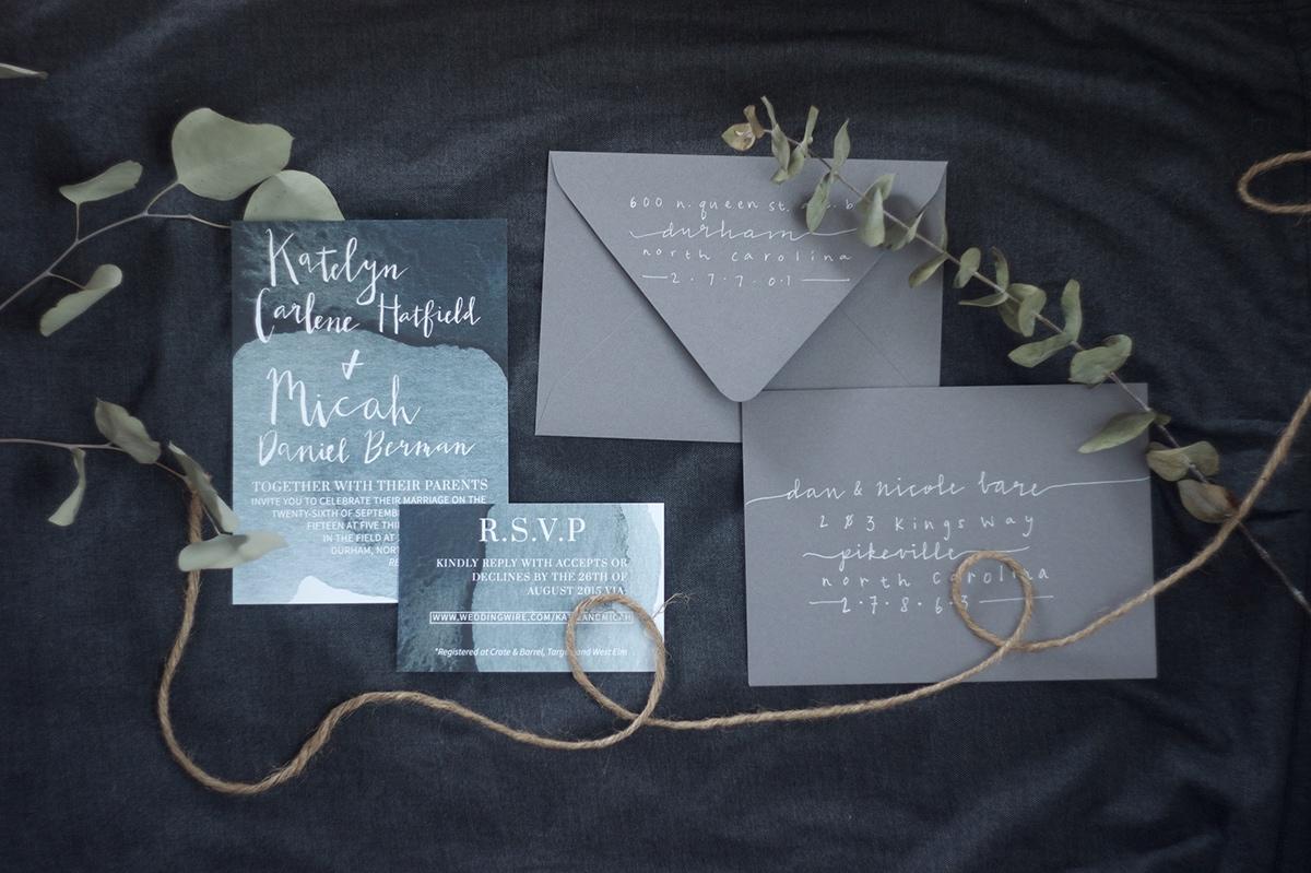 lettering Indigo dip-dye Invitation wedding wedding design watercolor