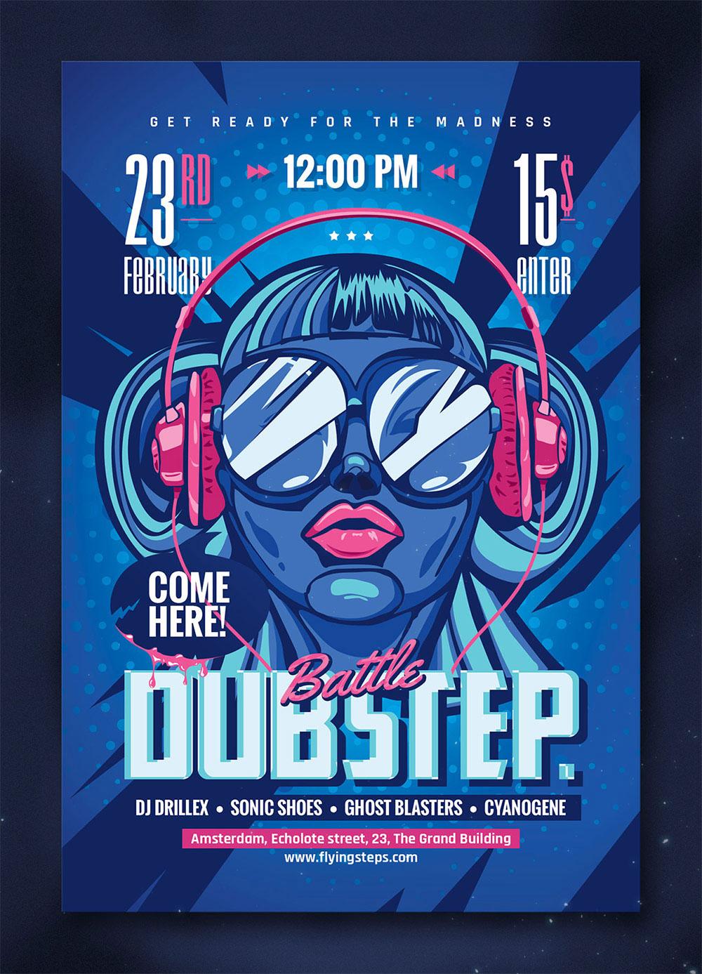 DubStep And Hip Hop Battle Party Flyer On Behance