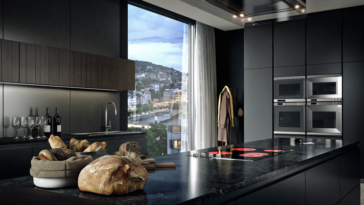 Le bijou cgi zurich interior on behance for Kitchen design zurich