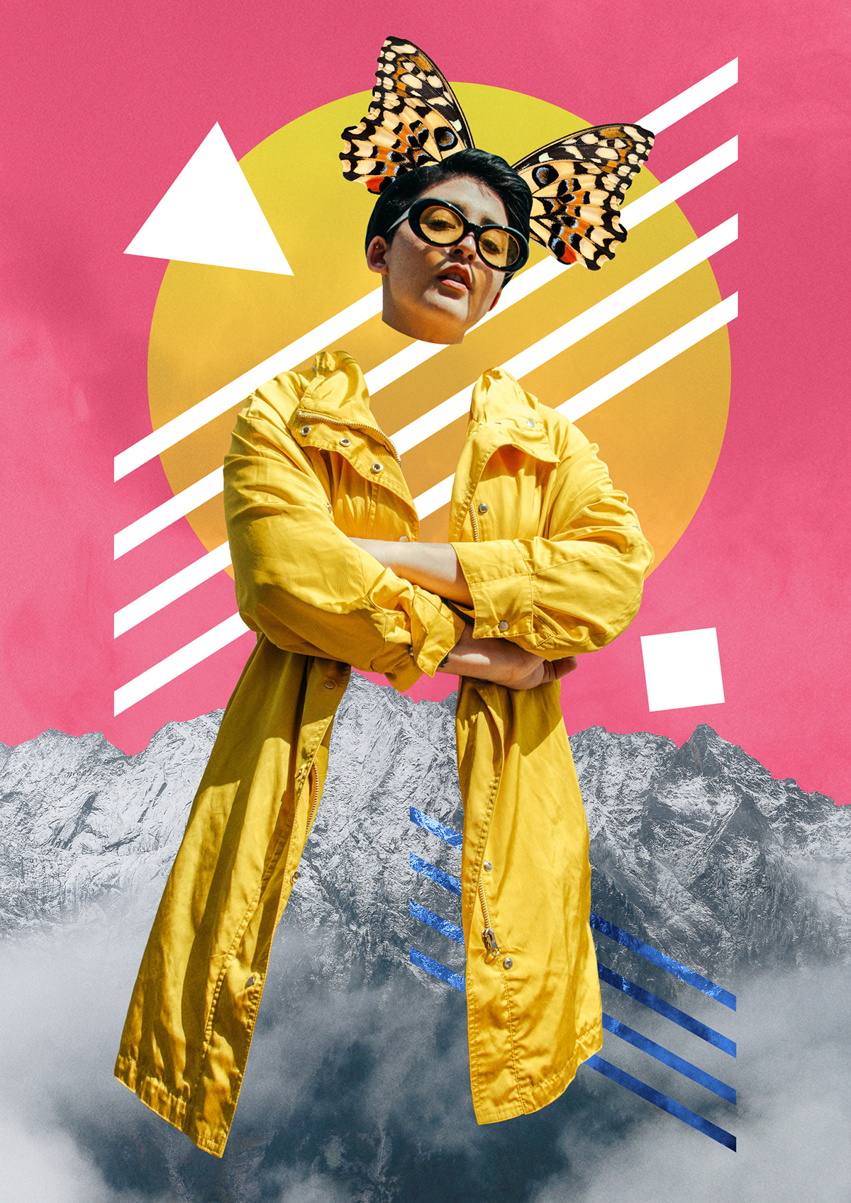 collage graphic design  ILLUSTRATION  Adobe Portfolio poster posters colors butterfly wings coat