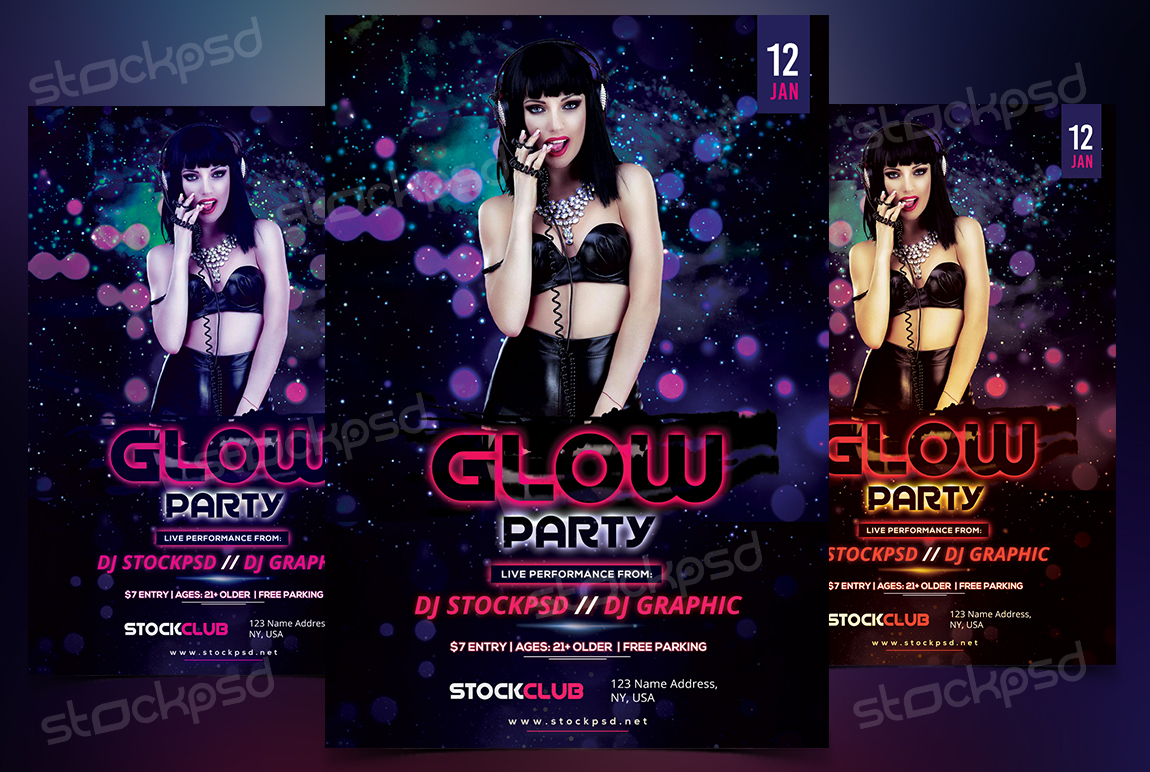 Glow Party Free Psd Flyer Template On Behance