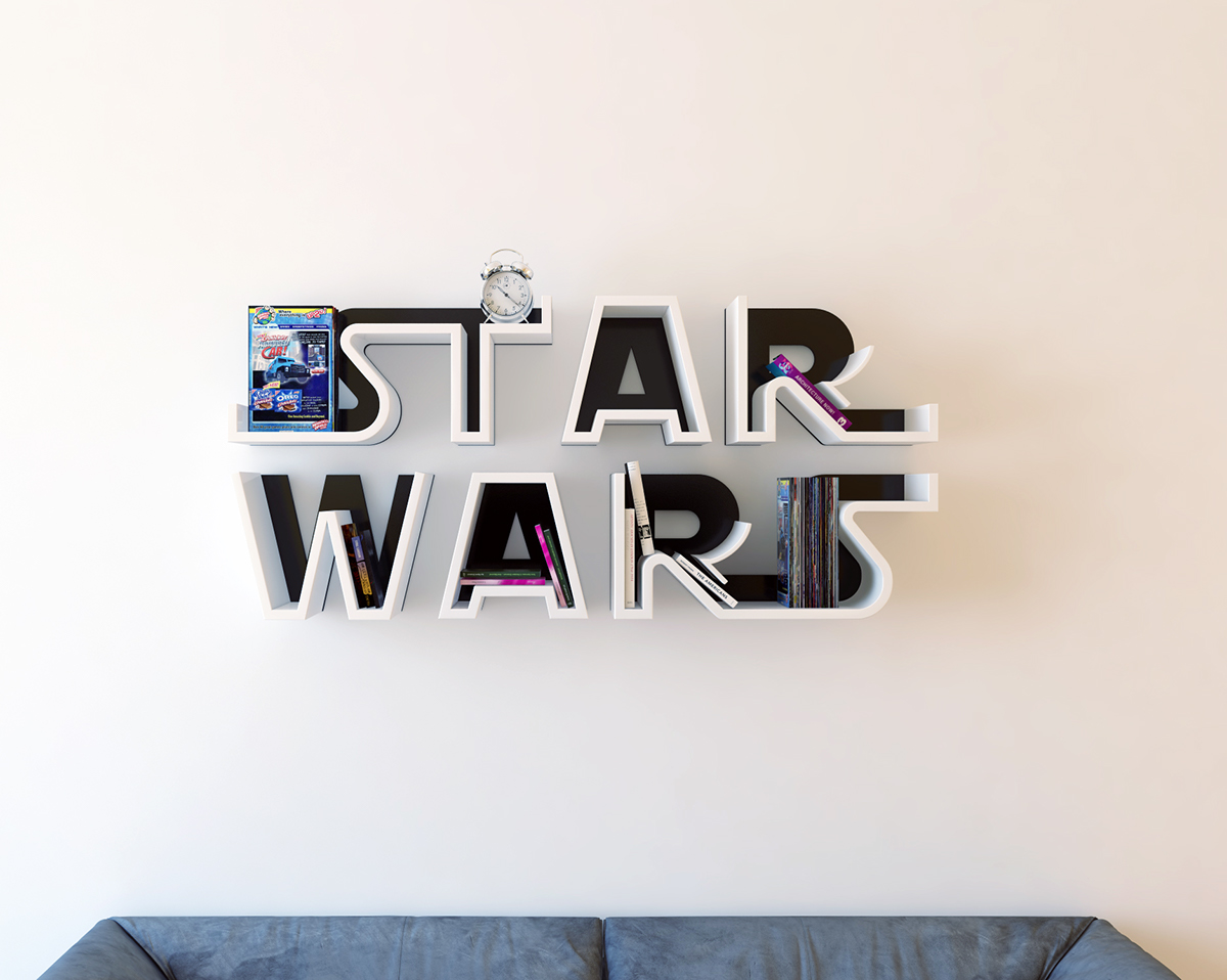 Star Wars Logo Shelf Interrior Design Bookshelf On Behance