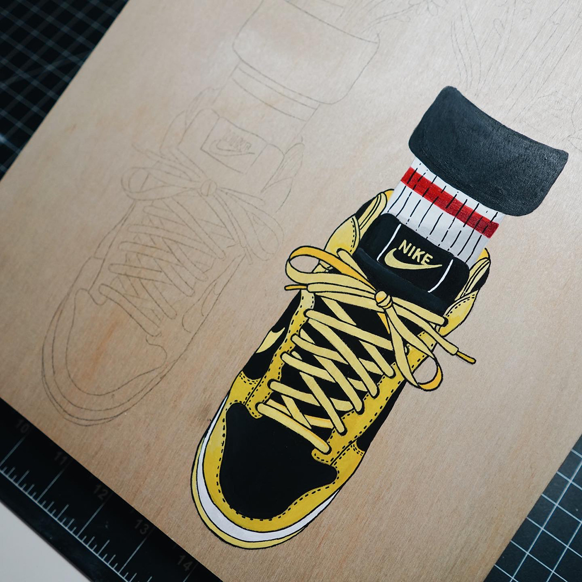acrylic painting canvas canvas painting dunk high heyemilydee painting   sneaker painting