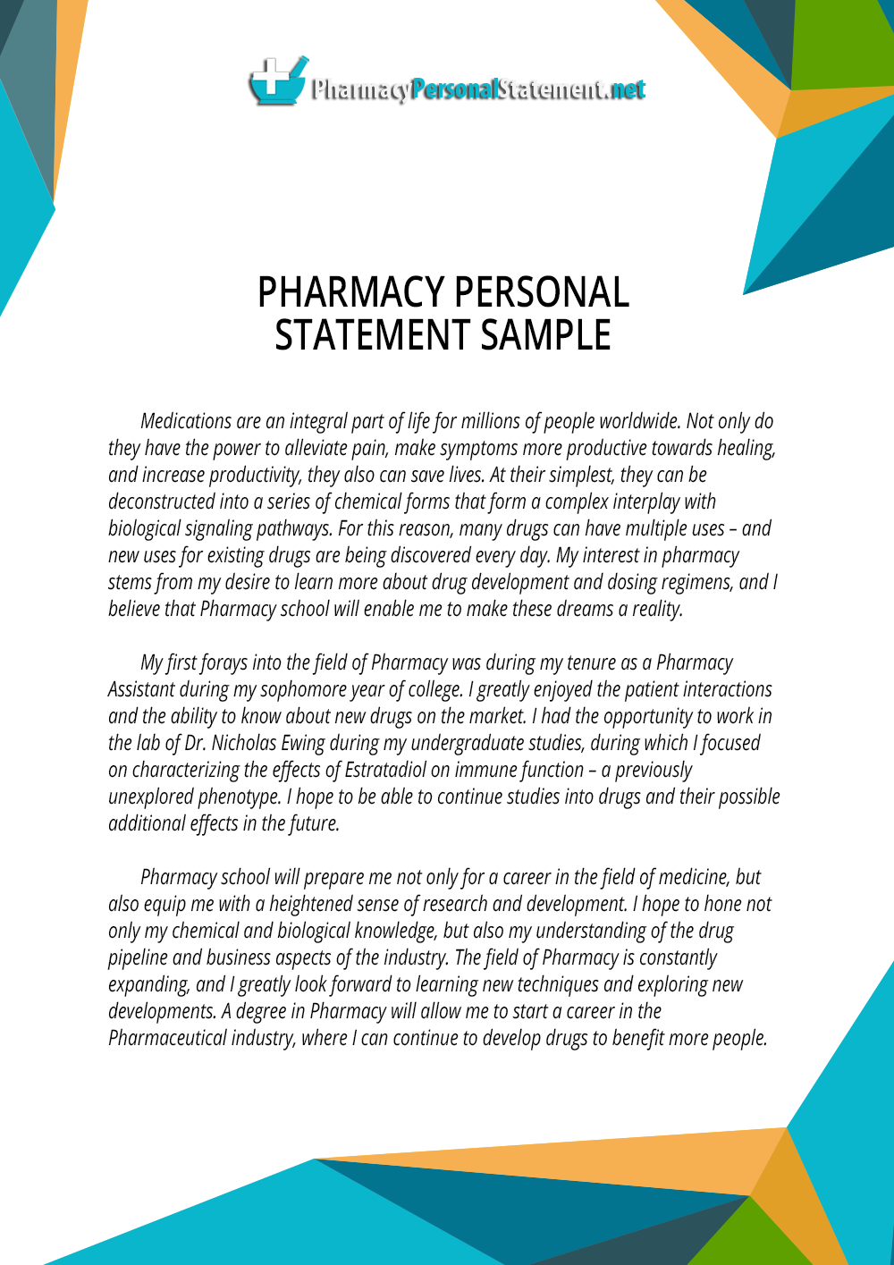 pharmacy personal statement sample on behance