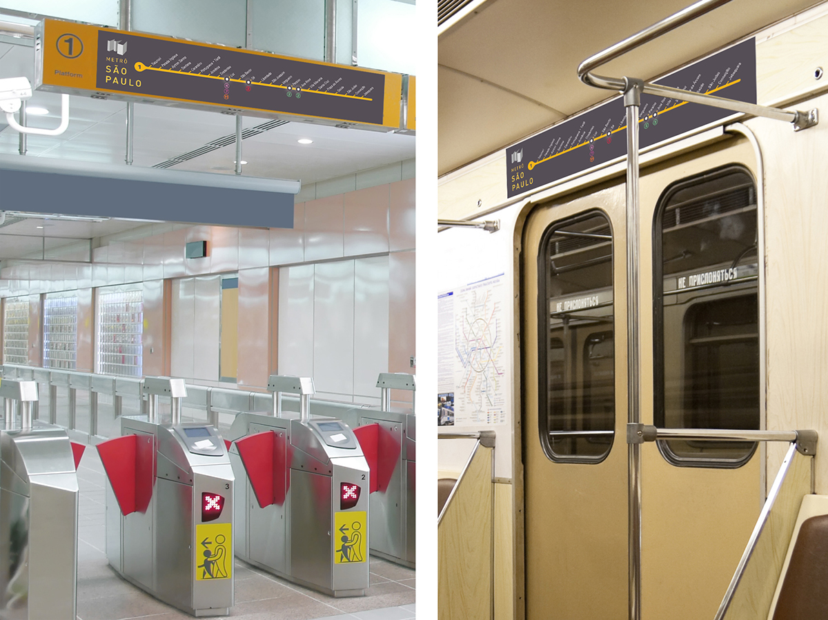 são paulo metro brochure print information colors routes map subway transportation railroad