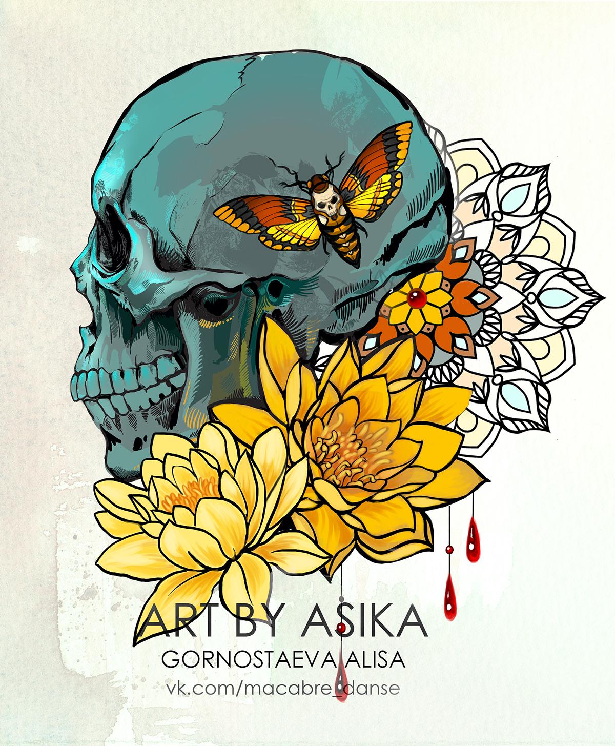 Skull Lotusmandala Tattoo Sketch Neotrad On Behance