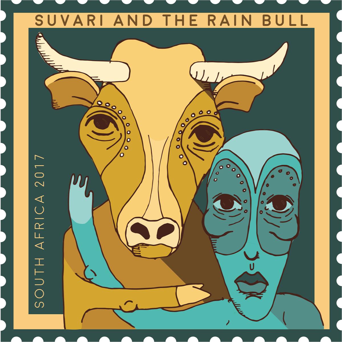 ILLUSTRATION ,design,african,stamps,envelope,postcard,Character design