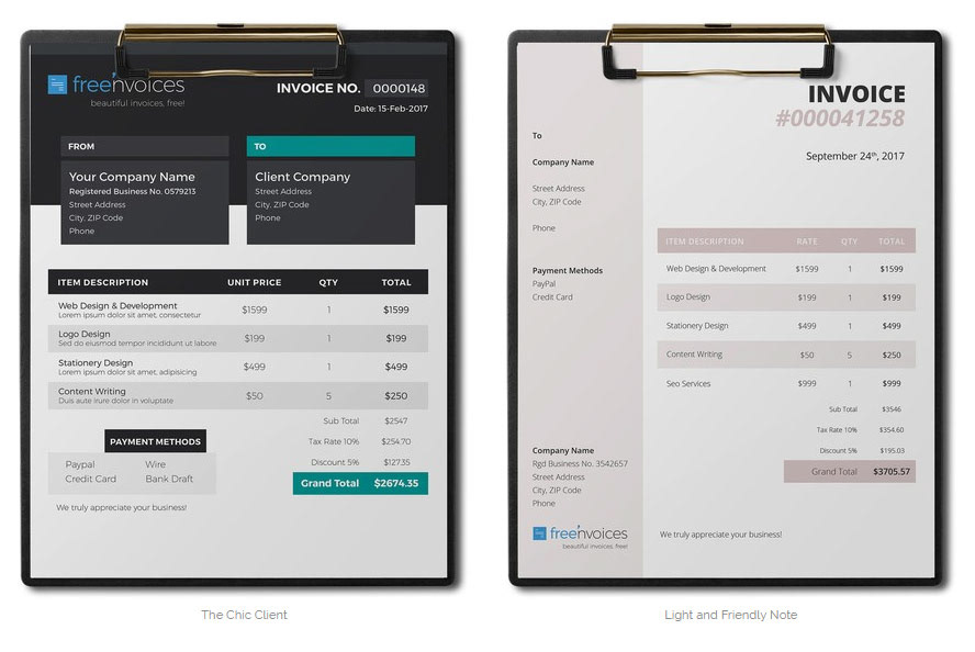 Free Word Invoice Templates On Behance