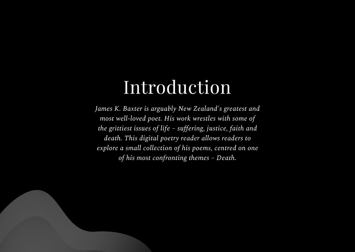 james k baxter New Zealand Poetry  ui design UX design Interaction design  typography   death dark theme organic Brutalist black Hipster