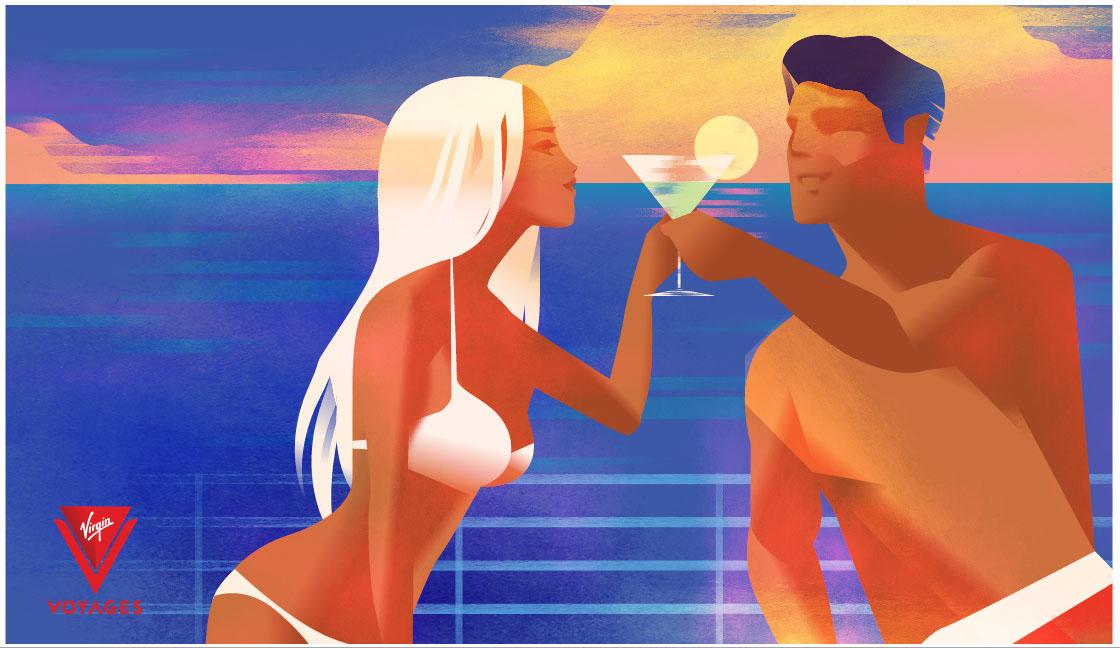 virginairlines virginvoyages poster campaign ILLUSTRATION  madsbergillustration madsberg vector vector art artwork