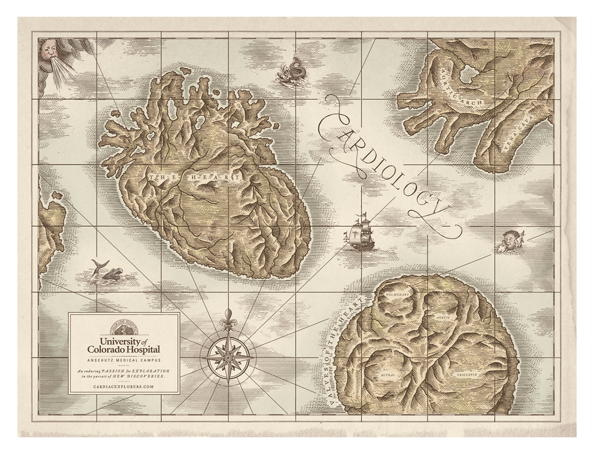 University of colorado hospital map illustrations on behance these map illustrations were created in a line etching style to give that aged old world map feel with parchment background along with a muted watercolor gumiabroncs