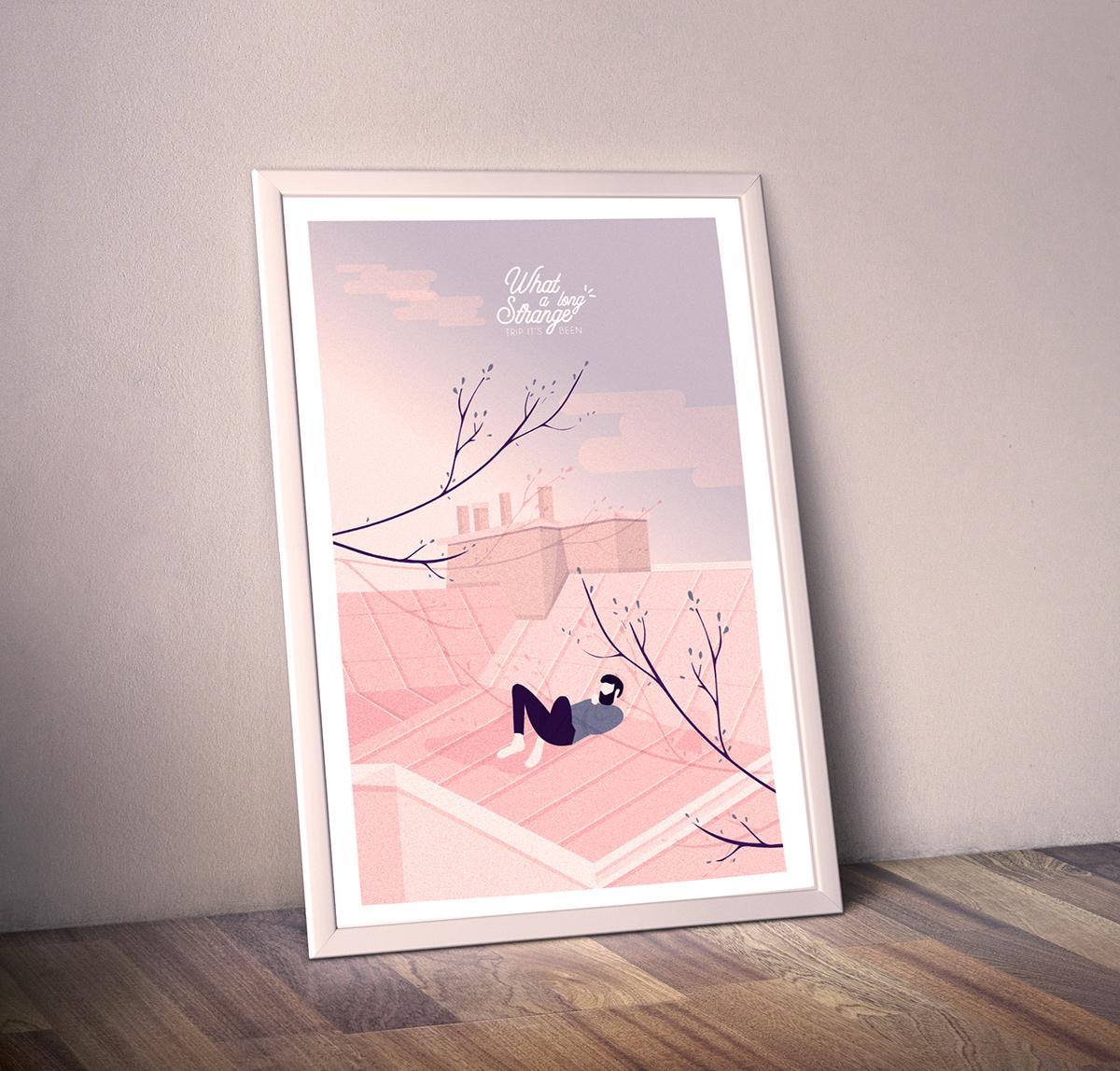 Illustrator,adobe,portfolio,Paris,rooftop,Tree ,Behance,salomé gautier