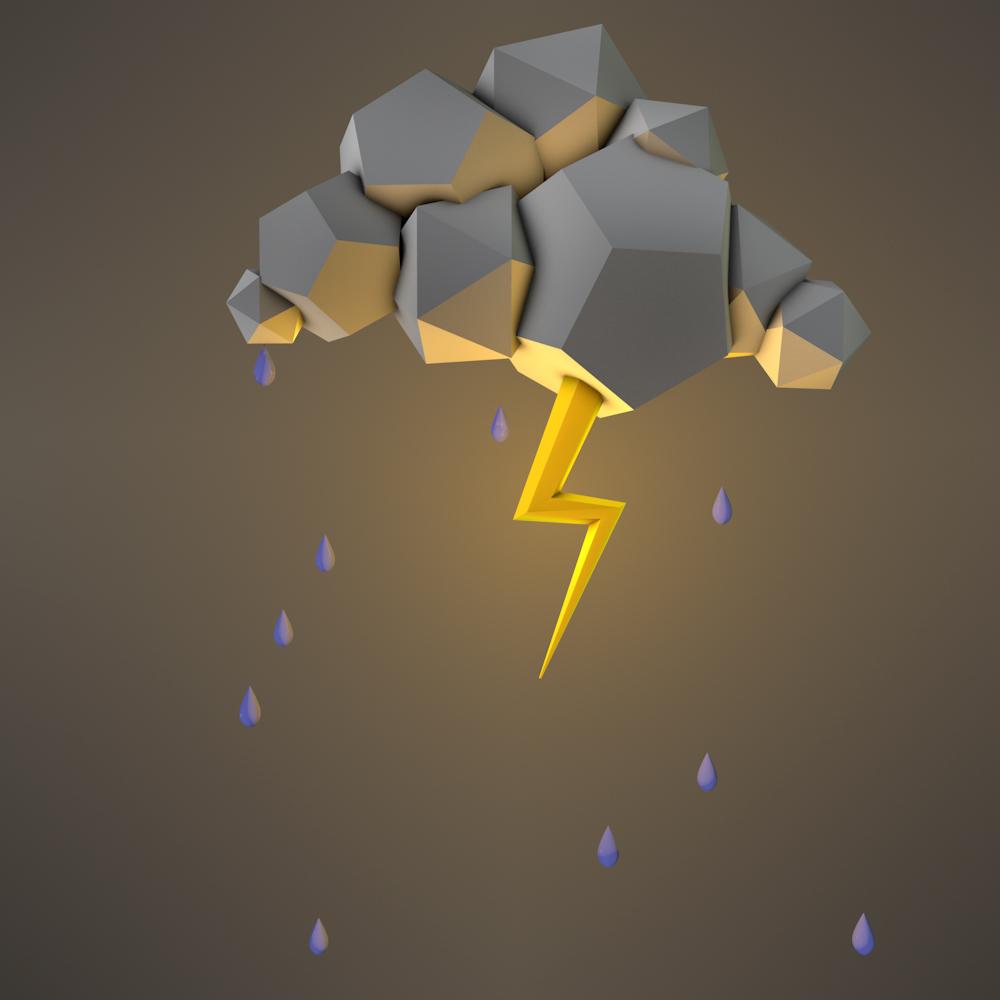 cinema 4d 3D thunder Low Poly