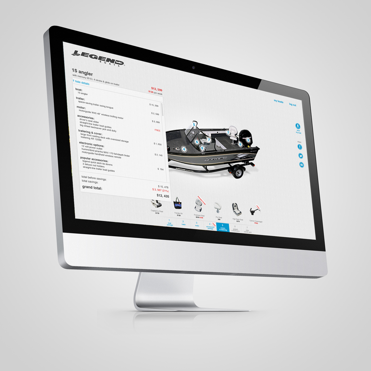 builder application iPad web application boat constructor ux legendboats Custom customization shop Online shop Ecommerce
