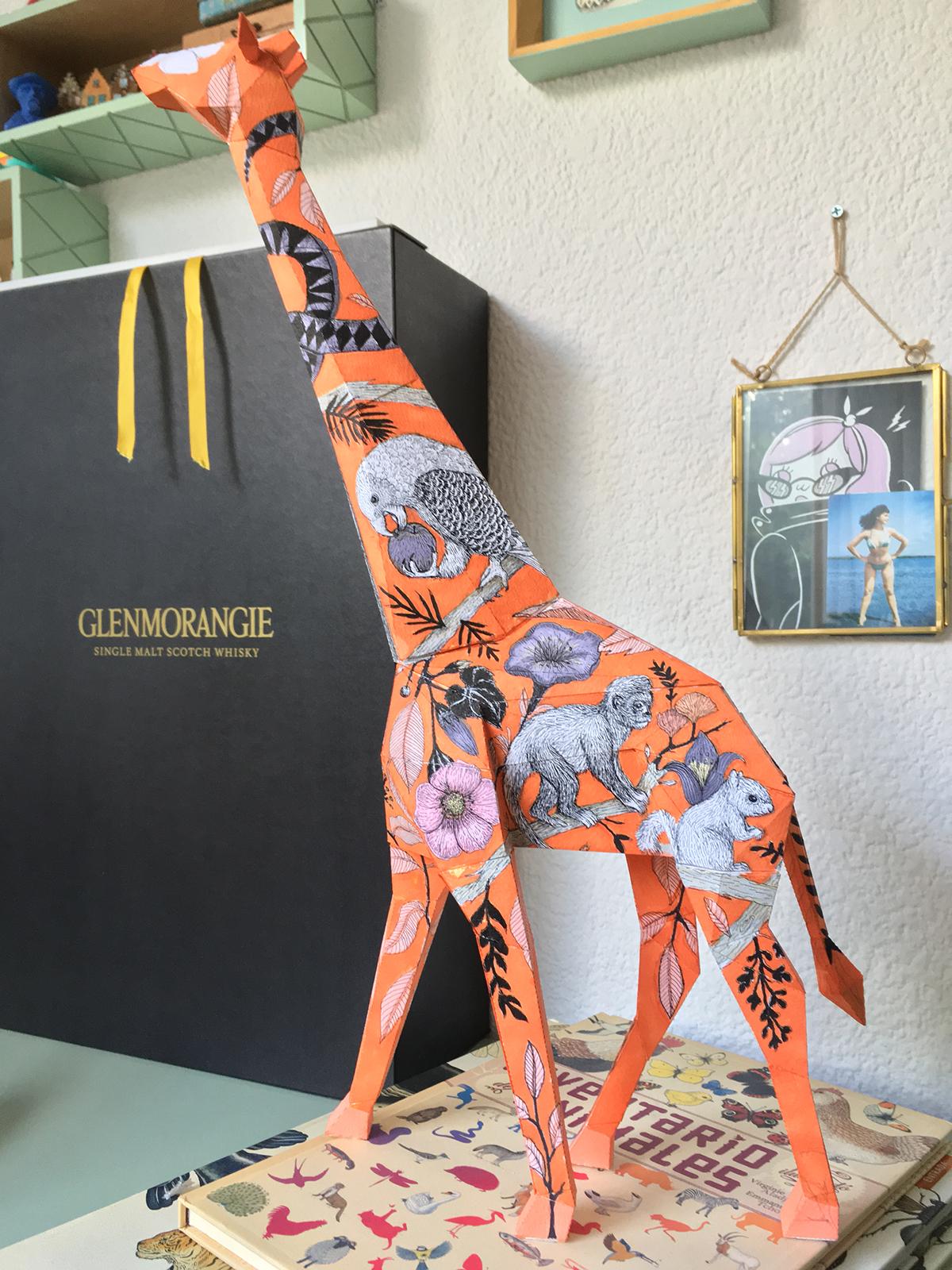 giraffe paper sculpture ILLUSTRATION  ink chartpak indi maverick intervention