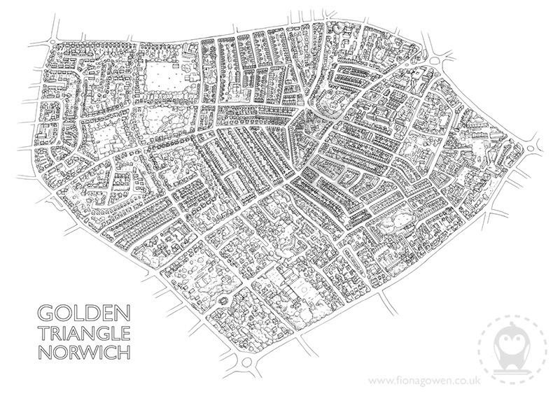 Black and white version of Golden Triangle Norwich Illustrated map by fiona Gowen