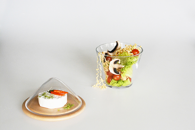 bowl glass wood food separation bowl HugO fold it! Material combination wood turning glass blowing