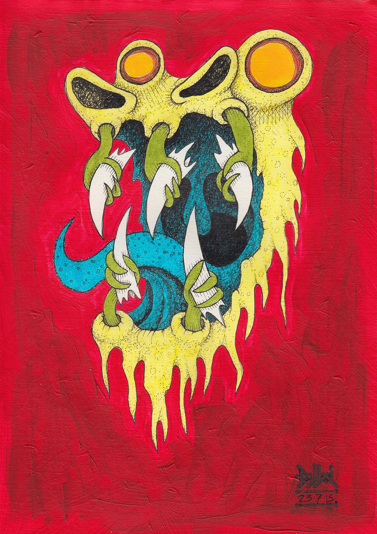 fangs monster phantom ghost demon claw paint ink