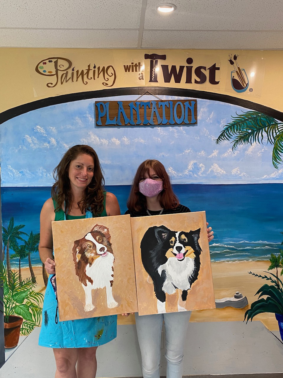 Bricole Reincke and stepdaughter with Mini Aussie Paintings